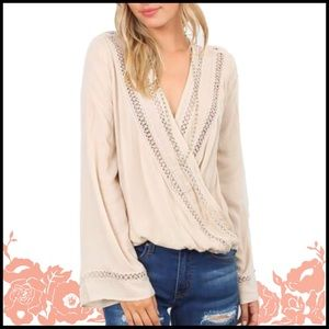Embroidered Cross-Over Top